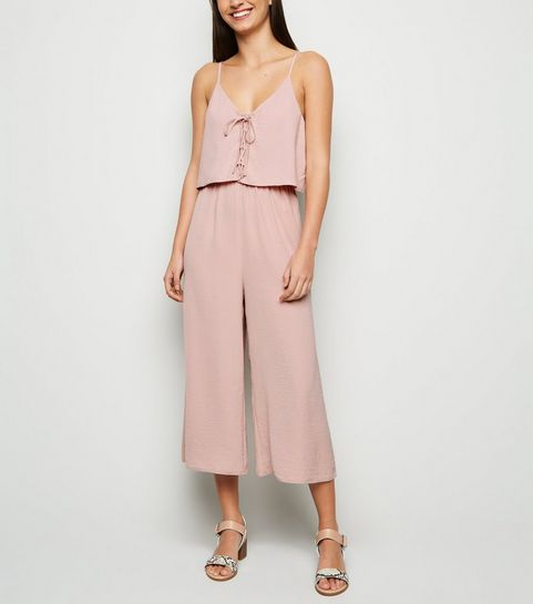 bb1117b46802 ... Pink Lace Up Layered Culotte Jumpsuit ...