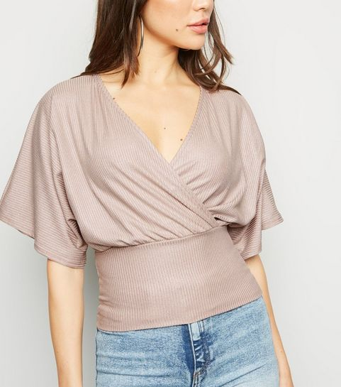 57d3090f5f ... Pale Pink Glitter Wrap Front Top ...