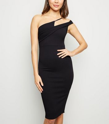 Black Asymmetric Strap Bodycon Dress