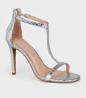 Silver Faux Snake T-Bar Stiletto Heels
