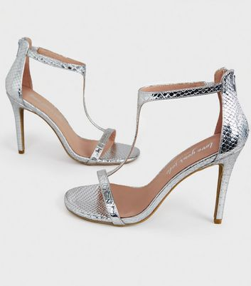 shop for Silver Faux Snake T-Bar Stiletto Heels New Look at Shopo
