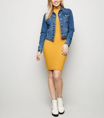 3f01e33f40383 Mustard Ribbed Turtleneck Mini Dress New Look