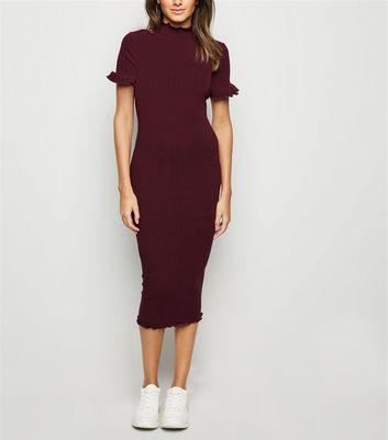 Burgundy Ribbed Frill Midi Dress