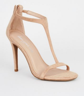 Cream Suedette T-Bar Stiletto Heels