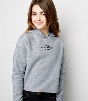Grey Grey Never Underestimate Slogan Hoodie