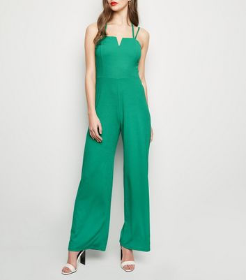 Green Notch Neck Cross Strap Jumpsuit