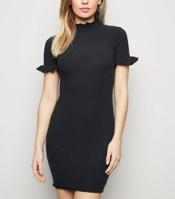 Black Ribbed High Neck Frill Mini Dress