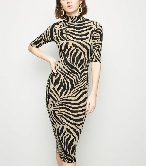 e4c1fbd0b5 ... Stone Zebra Print Turtleneck Midi Dress ...