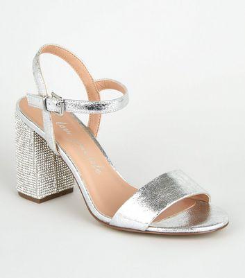 Wide Fit Silver Diamanté 2 Part Heels