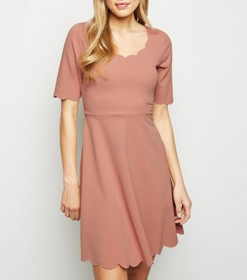 Pink Scallop Edge Skater Dress