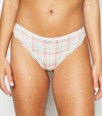 Cream Check Lace Trim Thong