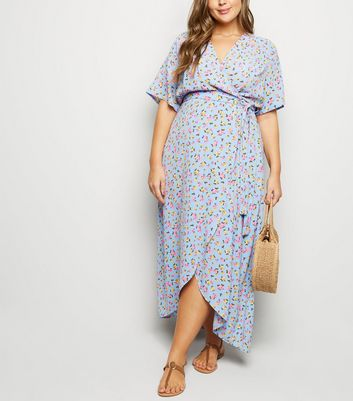 Curves Blue Floral Wrap Front Dress