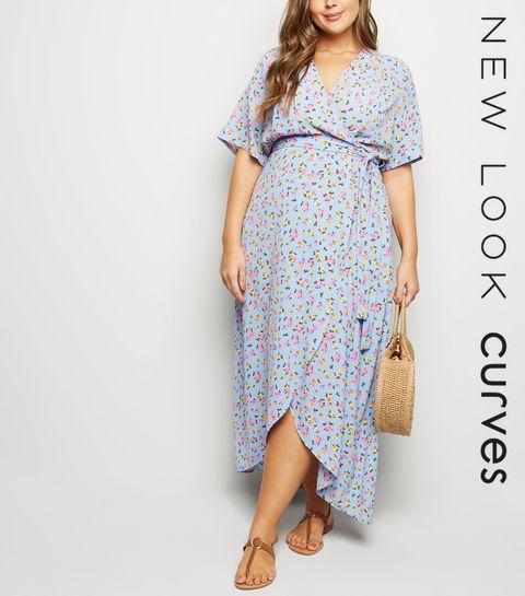 35cc67a2aae ... Curves Blue Floral Wrap Front Dress ...