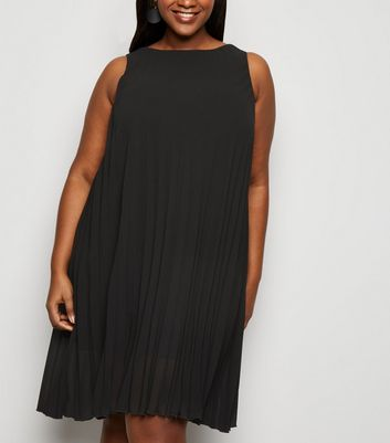 Curves Black Pleated Sleeveless Dress
