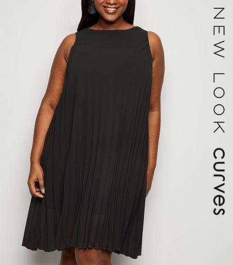 fff5ad33ccd ... Curves Black Pleated Sleeveless Dress ...