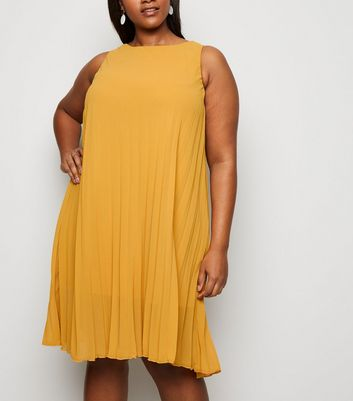 Curves Mustard Pleated Sleeveless Dress