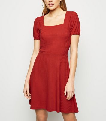 Red Jersey Square Neck Skater Dress