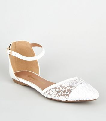 Wide Fit - Ballerines blanches en dentelle