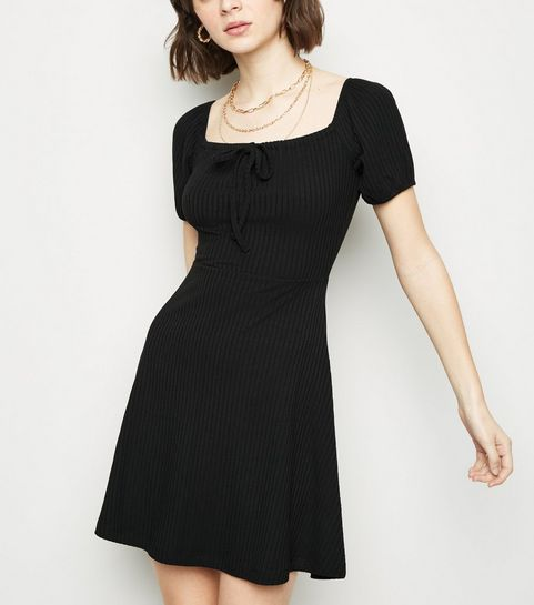 ... Black Bow Square Neck Rib Skater Dress ... 40f1cada5