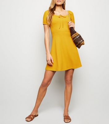 Mustard Bow Square Neck Rib Skater Dress