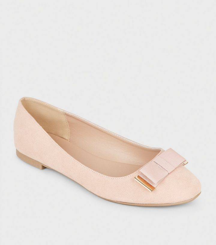 big discount of 2019 lace up in shop for genuine Wide Fit Nude Metal Trim Bow Ballet Pumps Add to Saved Items Remove from  Saved Items