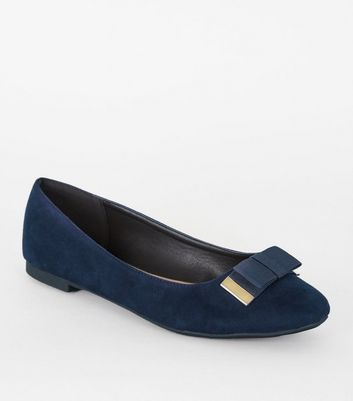 Wide Fit Navy Bow Ballet Pumps