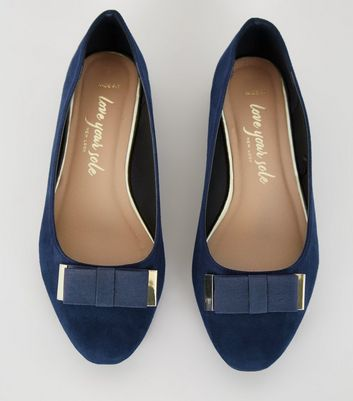 Wide Fit Navy Bow Ballet Pumps   New Look