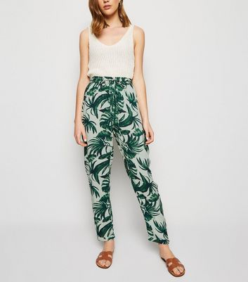 Green Tropical Leaf Print Joggers