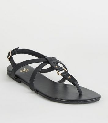 Girls – Schwarze Riemchensandalen in Leder-Optik