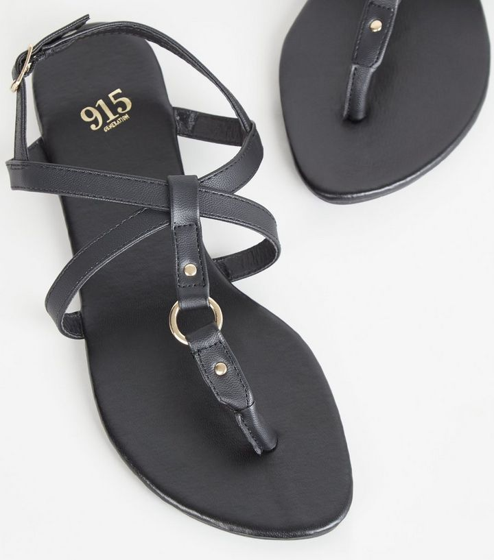 f3eaae35b5 ... Girls Black Leather-Look Strappy Sandals. ×. ×. ×. Shop the look