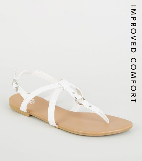 1a28256f5ede ... Girls White Leather-Look Strappy Sandals ...