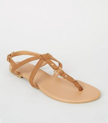 Girls Tan Leather-Look Strappy Sandals