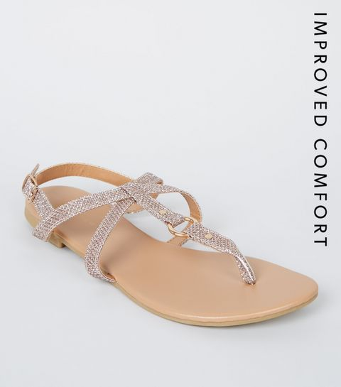 932f0aa338 ... Girls Rose Gold Glitter Strappy Sandals ...