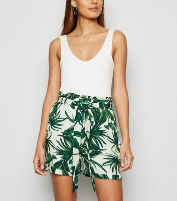 Green Tropical Utility Paperbag Shorts