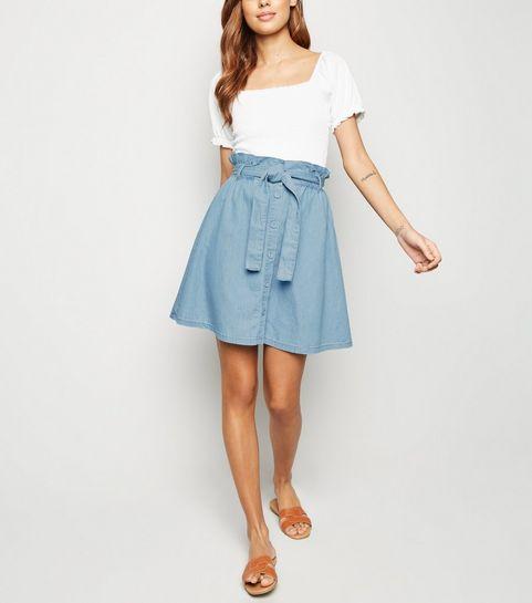 05dceee735 ... Blue Paperbag Waist Button Up Skirt ...