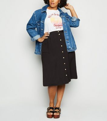 Black Crepe Button Up Midi Skirt