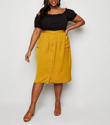 Mustard Crepe Button Up Midi Skirt