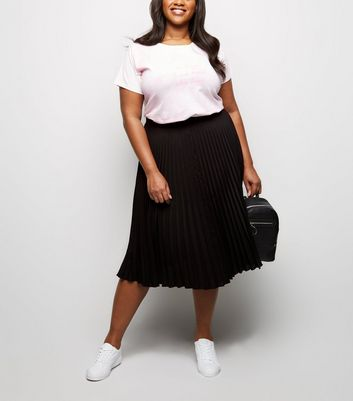 Curves Black Pleated Crepe Midi Skirt