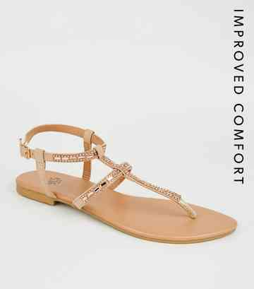 Girls Nude Shimmer Gem Strap Sandals