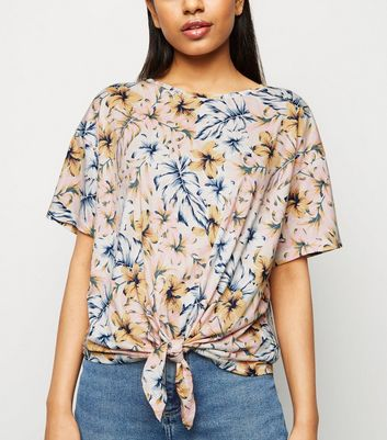 Petite Pink Tropical Floral Tie Front T-Shirt