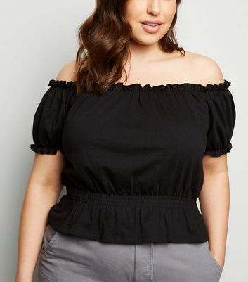 Curves Black Jersey Milkmaid Top