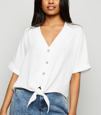 Petite White Tie Front Button Up Blouse