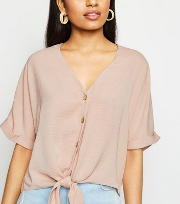 Petite Mid Pink Tie Front Button Up Blouse