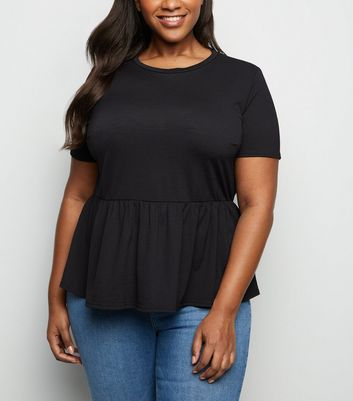 Curves Black Cross Hatch Peplum Hem T-Shirt