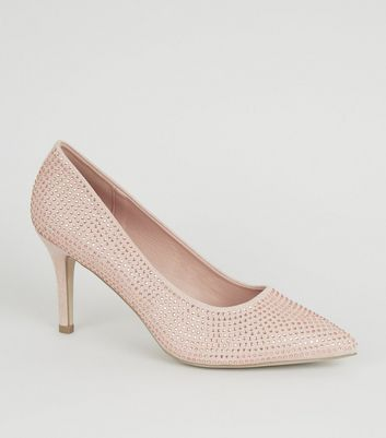 Wide Fit Nude Diamanté Court Shoes
