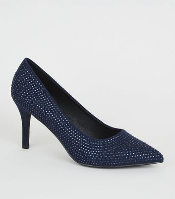 Wide Fit Navy Diamanté Court Shoes