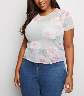 Curves Pink Floral Mesh T-Shirt