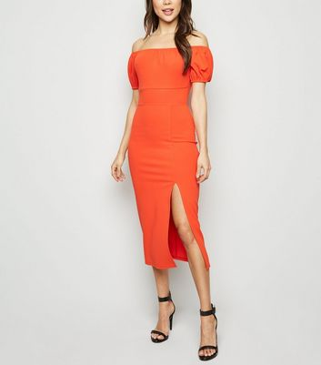 Red Side Split Elasticated Bardot Midi Dress