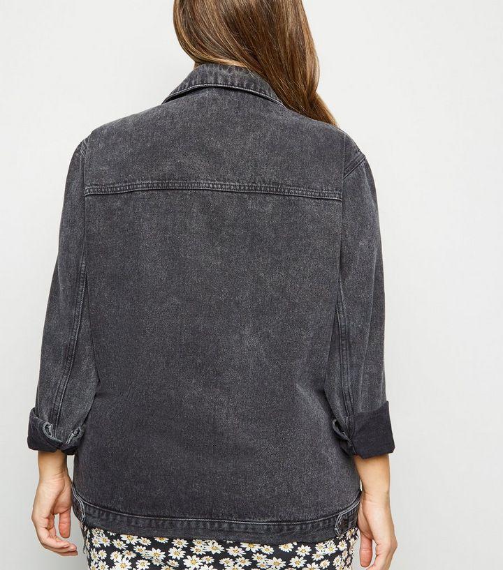 suche nach original wie man wählt auf Lager Curves – Schwarze Oversized-Jeansjacke in Acid-Waschung Für später  speichern Von gespeicherten Artikeln entfernen