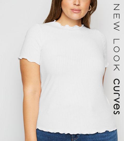 7027e335e04cff ... Curves White Ribbed Frill Trim T-Shirt ...